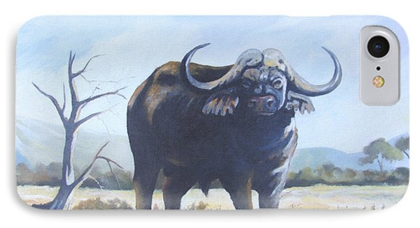 IPhone Case featuring the painting Lone Bull by Anthony Mwangi