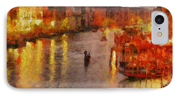 IPhone Case featuring the painting Lone Gondolier At Night by Kai Saarto