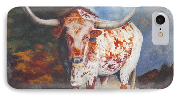 IPhone Case featuring the painting Lone Star Longhorn by Karen Kennedy Chatham