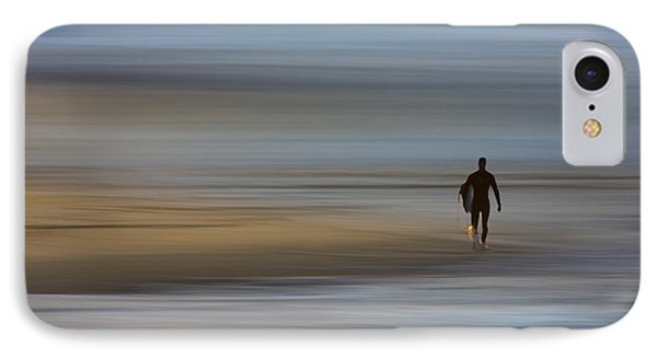 IPhone Case featuring the photograph Lone Surfing Walking A Surreal Shoreline by David Orias