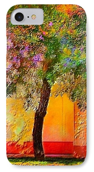 Lone Tree Against Orange Wall - Vertical IPhone Case