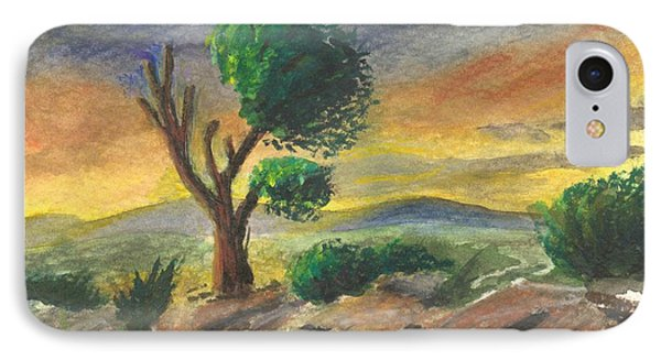 IPhone Case featuring the painting Lone Tree At Sunset by Sherril Porter