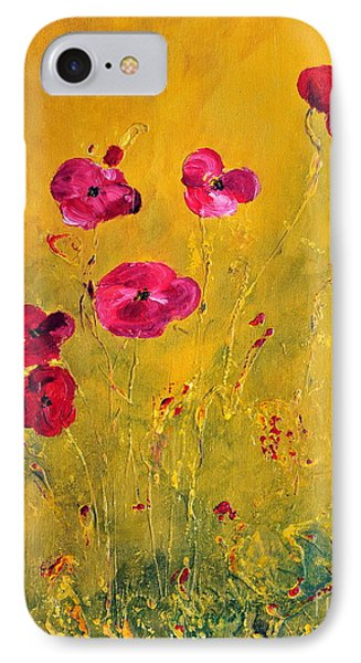 IPhone Case featuring the painting Lonely Poppies by Teresa Wegrzyn