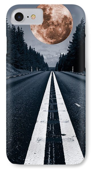 Lonely Road And Full Moon IPhone Case by Christian Lagereek