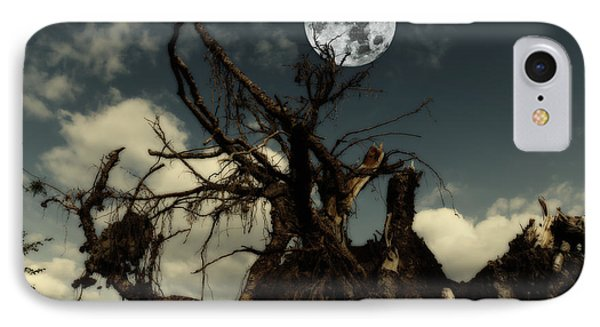 Lonely Tree Roots Reaching For A Full Moon IPhone Case