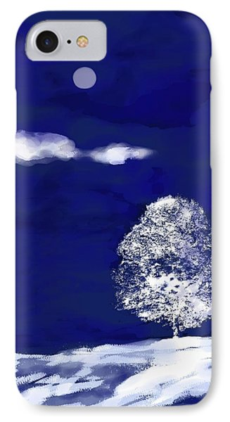 IPhone Case featuring the digital art Lonely Winter Tree by Mary Armstrong