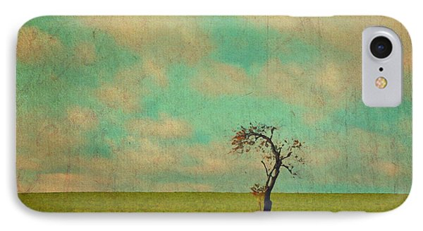 Lonesome Tree In Lime And Orange Field And Aqua Sky IPhone Case by Brooke T Ryan