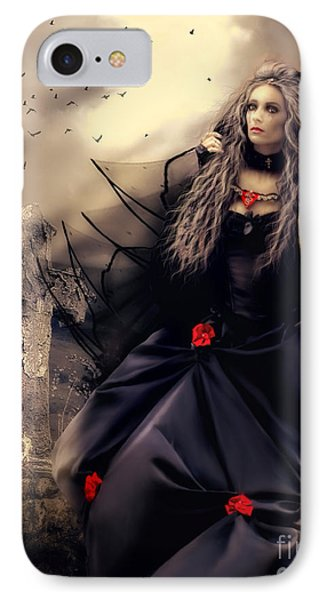 Long Black Veil IPhone Case by Shanina Conway