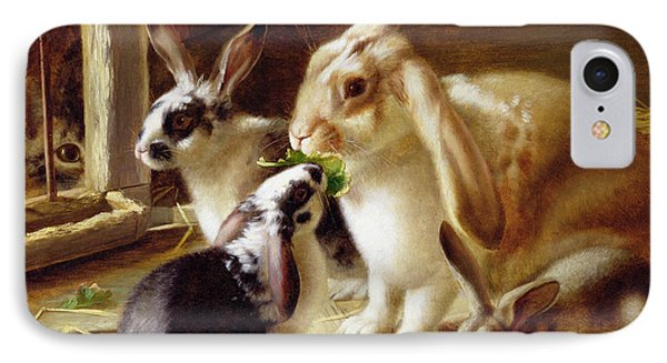 Long-eared Rabbits In A Cage Watched By A Cat IPhone 7 Case by Horatio Henry Couldery