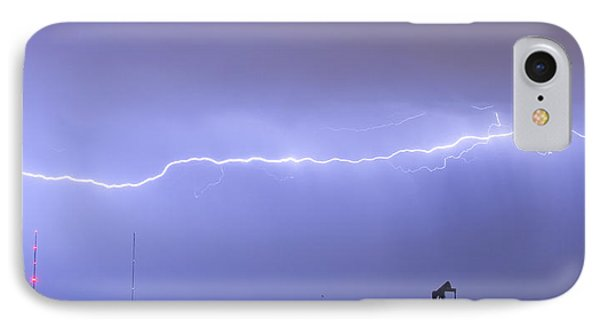 Long Lightning Bolt Strike Across Oil Well Country Sky Phone Case by James BO  Insogna