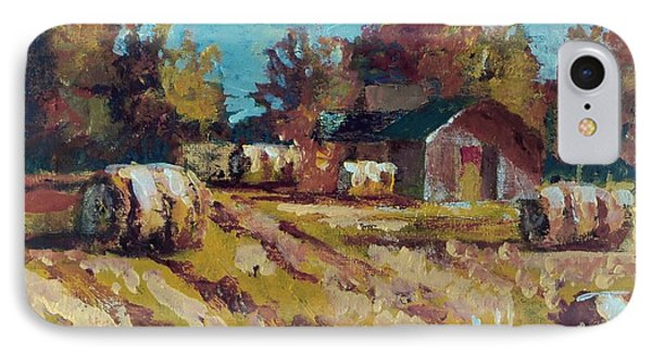 IPhone Case featuring the painting Long Shadows Off The Hay Rolls by Jim Phillips