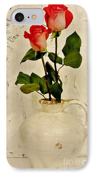 Long Stemmed Red Roses In Pottery Phone Case by Marsha Heiken