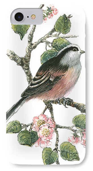 Long Tailed Tit And Cherry Blossom IPhone Case by Nell Hill