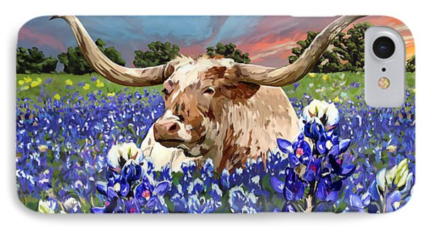 Longhorn In Bluebonnets IPhone Case by Tim Gilliland