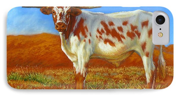 IPhone Case featuring the painting Longhorn In The Australian Outback by Margaret Stockdale