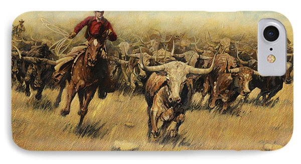 Longhorn Stampede IPhone Case by Don  Langeneckert