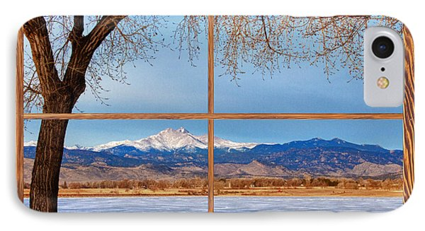 Longs Peak Across The Lake Barn Wood Picture Window Frame View Phone Case by James BO  Insogna