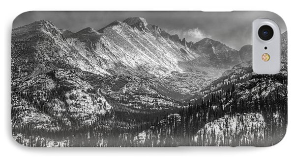 Longs Peak Rocky Mountain National Park Black And White Phone Case by Ken Smith