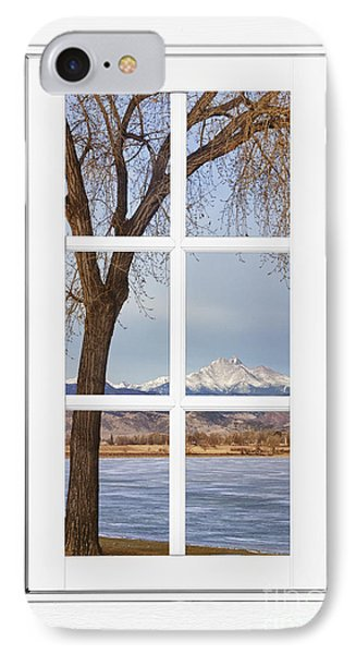 Longs Peak Winter View Through A White Window Frame IPhone Case by James BO  Insogna