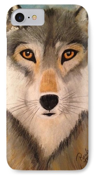 Looking At A Timber Wolf IPhone Case by Renee Michelle Wenker