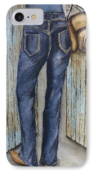 IPhone Case featuring the painting Blue Jeans A Hat And Looking Good by Kelly Mills