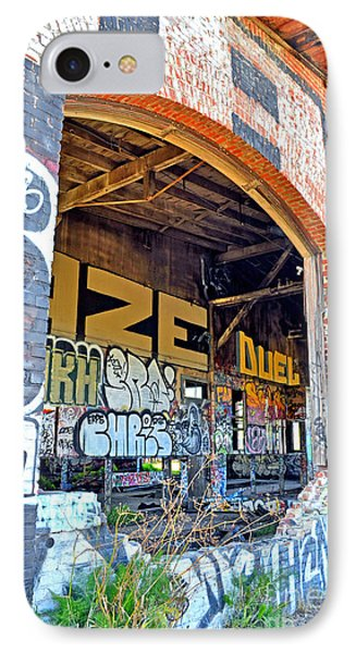 Looking Inside The Old Train Roundhouse At Bayshore Near San Francisco And The Cow Palace IIi  Phone Case by Jim Fitzpatrick