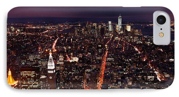 Looking South On Nyc New York City Skyline From The Empire State Building Observation Deck IPhone Case by Silvio Ligutti