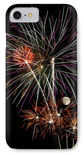 Looks Like Flowers - Fireworks And Moon IPhone Case by Penny Lisowski