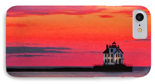 Lorain Lighthouse At Sunset IPhone Case by Michael Pickett