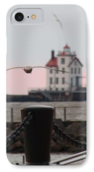 Lorain Lighthouse With Gulls Cropped IPhone Case