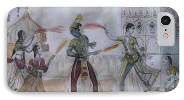 IPhone Case featuring the painting Lord Krishna Playing Holi by Vikram Singh