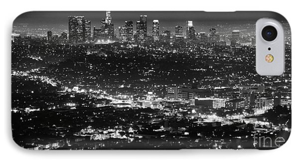 Los Angeles Skyline At Night Monochrome Phone Case by Bob Christopher