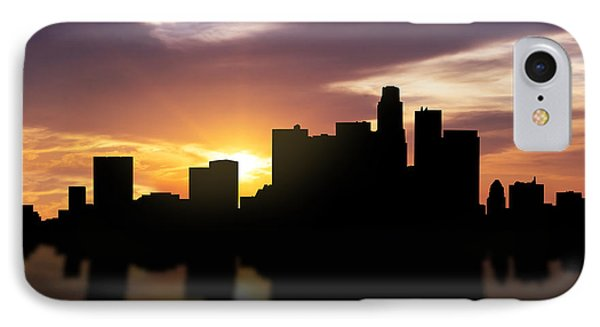 Los Angeles Sunset Skyline  IPhone 7 Case by Aged Pixel