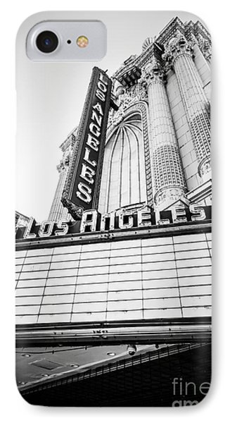 Los Angeles Theatre Sign In Black And White IPhone Case by Paul Velgos