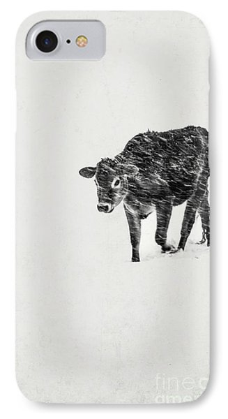 Lost Calf Struggling In A Snow Storm Phone Case by Edward Fielding