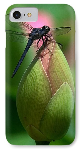 IPhone Case featuring the photograph Lotus Bud And Slatey Skimmer Dragonfly Dl006 by Gerry Gantt