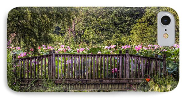 IPhone Case featuring the photograph Lotus Garden Pond And Bridge by Jerry Gammon