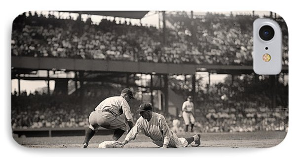Lou Gehrig Playing First Base IPhone Case by Mountain Dreams