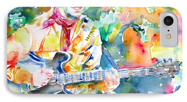 Lou Reed Playing The Guitar - Watercolor Portrait IPhone Case by Fabrizio Cassetta
