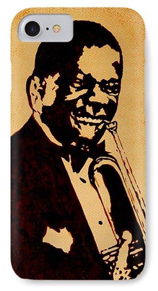 Louis Armstrong Original Coffee Painting Art Phone Case by Georgeta  Blanaru