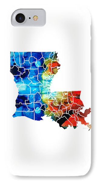 Louisiana Map - State Maps By Sharon Cummings IPhone Case by Sharon Cummings