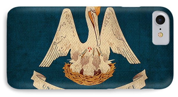 Louisiana State Flag Art On Worn Canvas IPhone Case by Design Turnpike