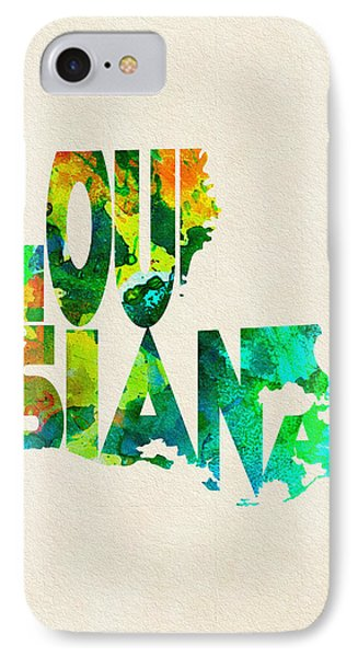 Louisiana Typographic Watercolor Map IPhone Case by Ayse Deniz