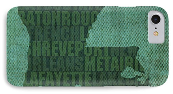 Louisiana Word Art State Map On Canvas IPhone Case by Design Turnpike