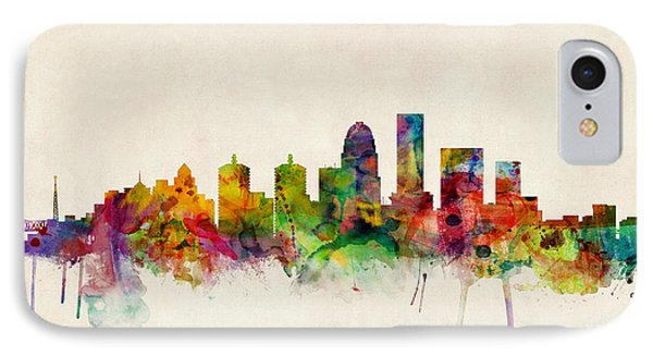 Louisville Kentucky City Skyline IPhone Case by Michael Tompsett