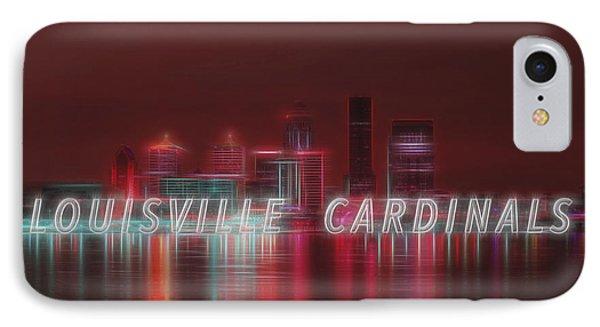 Louisville Kentucky Skyline Red Univ Of Louisville IPhone Case by David Haskett