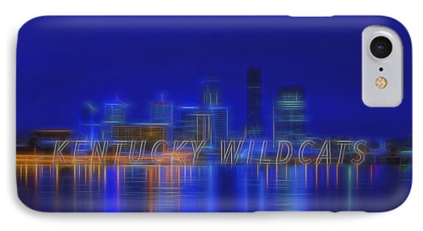 Louisville Kentucky Skyline Wildcats Blue IPhone Case by David Haskett