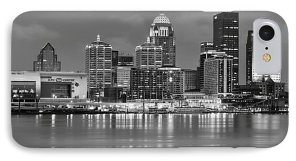Louisville Skyline At Dusk Sunset Bw Black And White Panorama Kentucky IPhone Case by Jon Holiday
