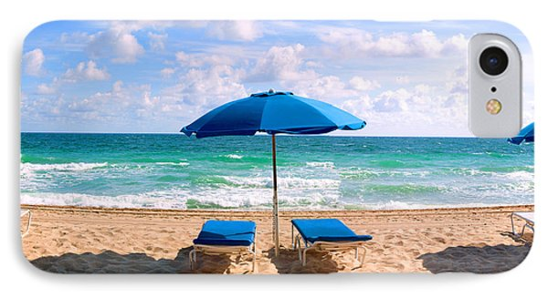 Lounge Chairs And Beach Umbrella IPhone Case by Panoramic Images