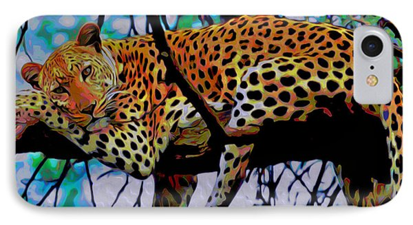 Loungin' Leopard IPhone Case by  Fli Art
